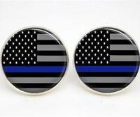 çizgili cam toptan satış-10 çift / grup Ince Mavi Çizgi küpe Amerikan Bayrağı Cam fotoğraf küpe damızlık sonrası