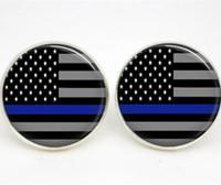 boucles d'oreilles bleues achat en gros de-10pairs / lot boucles d'oreilles bleues fines ligne drapeau américain boucles d'oreilles en verre photo poste