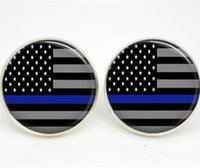 Wholesale Earring Stud Post Silver - 10pairs lot Thin Blue Line earrings American Flag Glass photo earrings stud post
