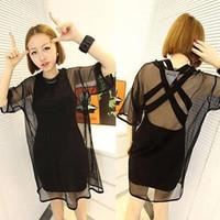 Wholesale Wholesale Sheer T Shirts - Wholesale-Womens See through Sheer Mesh Short Sleeve T Shirt Oversize Tops BLACK