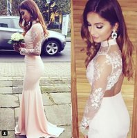Wholesale Silk White Shirt Wedding - Light Pink High Neck Sheer Long Sleeves Bridesmaid Dresses Lace Top Mermaid Maid Of Honor Gowns Sexy Open Back Cheap Wedding Guest Dresses