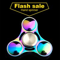 Wholesale Skateboard Professional - Fidget spinner toys Rainbow Tri-Fidget Hand Spinner Colorful EDC Gyro Toys Hand Spinner Fidget Aluminum HandSpinner Professional Toy