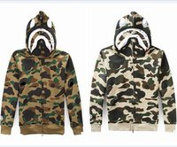 Wholesale Japanese Style Men Hoodies - Japanese styles Shark Hoodie Men Women fashion Harajuku Cool fun Cartoon Sweater Jacket WGM Full Zip Hoodie Fleece Cardigan Sweatshirt Coat