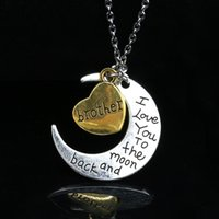 Wholesale Brother Love - 1pcs lot DIY 9 Design Statement Jewelry Love You To The Moon Heart Mom Dad Aunt Sister Brother necklaces & pendants For Family Gift