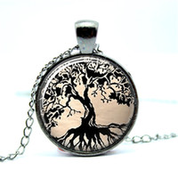 Wholesale gun black glass - 10pcs lot Gun Black Tree Necklace Tree of Life Glass Tile Art Pendant Glass Photo Cabochon Necklace