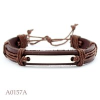 Wholesale Customizable Jewelry - ANTIQUE SILVER BLANK BASE SETTING CHARM Adjustable Leather Cuff Bracelets for Men & Women CUSTOM Casual Jewelry Customizable