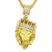 altın taç kolye toptan satış-Hip Hop Takı Taç Aslan Başkanı Desen Kolye Kolye Rhineston Altın Kral Kolye Erkekler için Moda Takı Altın Zincirler