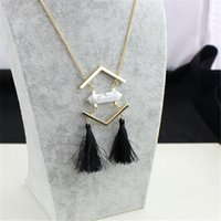 Wholesale Turquoise Gravel - New Blue Gravel Natural White Turquoise Jewelry Long Black Tassel Geometric Hexagonal Prism Pile Necklace for Women