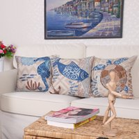 Wholesale Sea Horse Pillows - Sea Turtle Beige Cushion Covers Starfish Coral Octopus Sea Horse Shell Pillow Covers Thin Linen Cotton 18 Styles Bedroom Sofa Decoration
