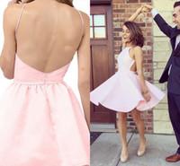 abertura de volta curto vestido rosa claro venda por atacado-Luz rosa Sexy Backless Homecoming vestido sob 100 aberto de cetim curto barato Cocktail Homecoming vestidos de festa ADH006