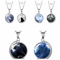 Wholesale Faces Sweaters - Original Tellurion Design Glass Cabochon Pendant Necklace With Double-Faced Wolf Pattern Charm Sweater Chain Jewelry drop shipping