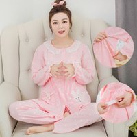 Cotton Sleeping Rock Strickjacke Button Langarm Pyjamas 100% Baumwolle Cartoon Frühling Herbst Schwangere Frauen Runde Kragen Damen Pyjamas