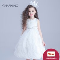 Wholesale Girls Pageant Crowning Dresses - Crown Pagean beauty pageant awards designer dresses for kids White round neck Belt decoration Crepe fabrics Bubble Skirt
