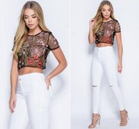 Wholesale Shirt Flower Women - 2017 summer new Women Crop Top Crochet Lace Trim Lace Up Front Camis Flower Embroidery Mesh Top Cutout Short t shirt