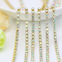 Wholesale Vintage Glass Plates Silver Set - Wholesale Vintage Rhinestone Cup Chain SS6.5-SS12 Crystal AB Brass Setting Glass Crystals, 3.5-5Meters pack