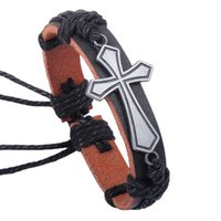 Wholesale Europe Christian - Europe and America vintage Christian rhombus cross bracelet fashion religious jewelry unisex Genuine charm cowhide bangle wholesale
