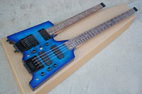 Электрическая гитара Hot Sale Blue Double Neck без головной части, 6-струнной гитары и 4-струнного баса, фанерного кленового шпона, может быть изменена