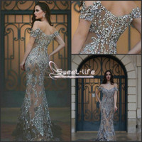 Wholesale Long Sleeve Rhinestone Mermaid - Sparkly 2017 Two Pieces Prom Dresses Illusion Major Beading Long Sleeve with Rhinestones Spring Party Gowns Custom Pageant Evening Dresses
