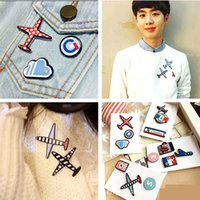 Wholesale Aircraft Cloth - Wholesale- Amazing 1Set Unisex Unique Cloth Resin Aircraft Brooch Pins Badge Accessory Fashion Men's Collar Pins Broche for Women Gift