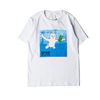 Wholesale Men Swimming Shirt - Hot Lovers Unisex Funny RIPNDIP Swim Cat Rose Flag Cat Print Short Sleeve T-Shirt Shirts Tees Tops