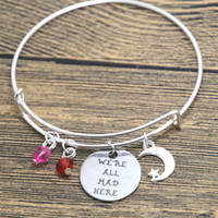 Wholesale Mad Cats - 12pcs lot Alice in Wonderland inspired Cheshire Cat bracelet We're all mad here Fairytale Jewelry bangle