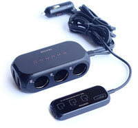 Wholesale Powered Usb Splitter - RHUNDO 3 port Three Way Car Cigarette Lighter Socket outlet Adapter Splitter USB Car Charger with Touch Sensor Power Switches & Display