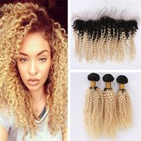 Wholesale two tone afro kinky hair weave for sale - Group buy Two Tone B Blonde Hair With Lace Frontal Afro Kinky Curly Hair Weaves With Frontal Ombre b Human Hair Bundles With Frontal