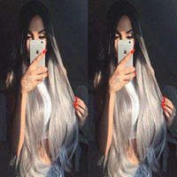 Wholesale Long Grey Wig Heat Resistant - 2017 New Arrival Synthetic Lace Front Wig Long Straight Grey Ombre Wigs Heat Resistant Fiber Synthetic Lace Front Wigs For Black Women