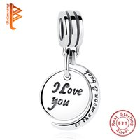Wholesale Sterling Silver Loose Beads - BELAWANG I love you to the moon and back Charms 925 Sterling Silver Moon Charms fit Pandora Charm Bracelets&Necklaces DIY Jewelry Making
