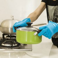 Wholesale Silicone Microwave Oven Gloves - Barbecue Silicone Heat Holder Gloves Kitchen Oven Mitts Cook Microwave Resistant Gloves Pot Holder Kitchen Tools OOA2028
