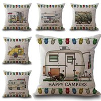 Wholesale Happy Hotels - Happy Campers Throw Pillow Cases Cushion Cover Pillowcase Linen Cotton Square Pillow Case Pillowslip home decor gift 240566
