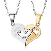 Wholesale Heart Shape Pendants For Couples - Meaeguet Slide Crystal Necklace For Women Men Fashion Lovers Necklaces & Pendants Stainless Steel Heart Shape Pendant For Couple