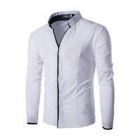 ingrosso maschera camicia coreana-All'ingrosso- Classico bianco camicia maschile mens camicie stile coreano manica lunga colletto solido collare uomini casuali camicetta C122