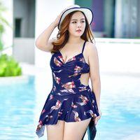 Wholesale Swimwear Russia - Plus Size Swimwear Floral Print Women Beachwear Two Pieces Tankini Russia 5XL 6XL