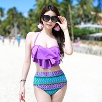 Wholesale Hot Swimsuits For Women - 2017 New New Hot High Waist Swimsuit Padded Push Up Swimwear Halter Beachwear Swimming Clothing for Girls Women Ruched Bathing Suit