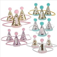 Wholesale party supplies crowns - 10pcs lot baby Headbands cone shape crown Hairband Kids glitter Birthday party supplies princess tiara Hat boutique hair accessories KHA486