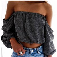 Womens Long Sleeved Sommer Sexy Casual Slash Neck Crop Tops Aus der Schulter trägerlosen Pullover Bluse Damen T-Shirt Shirt Tee