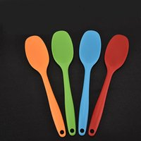 Wholesale Butter Spoon - Spatulas Shovel Silicone Long Handled Baking Spoon Cream Butter Cake Spatula Mixing Batter Scraper Brush Hot Sell 1 58tl J R