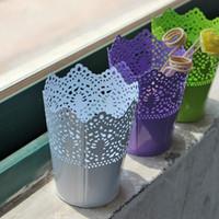 design de fleurs fer achat en gros de-Évidé Design fer fleur pot de haute qualité bonbons couleur vase barils conteneur robuste stéréo vente chaude 4 5tg a r