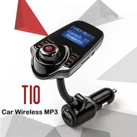 Wholesale T10 Car Wireless MP3 FM Transmitter LCD Display Bluetooth V3 EDR Handsfree Kit Support U Disk FLAC TF Card Handsfree Calling DHL OTH339