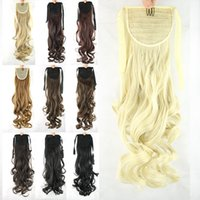 Wholesale Multicolor Hair Extensions - Wholesale- Women's Fashion 55cm 22Inch Ponytail Hairpieces synthetic Hair Extensions Ponytail Curly Ponytail Multicolor Wavy Ponytails