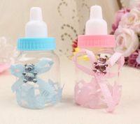baby flasche taufe bevorzugt großhandel-60 teile / los Babyflasche Pralinenschachtel Partei Liefert Baby Babyflasche Hochzeit Gefälligkeiten und Geschenken Box Baby Shower Taufe Dekoration