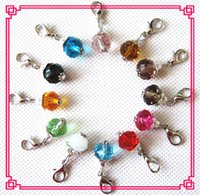 Wholesale Charms Locket Sell - Hot selling 24pcs lot mix 12 month birthstone crystal dangle charms lobster clasp charms for glass floating lockets