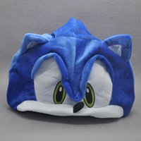 "Wholesale Sonic Hedgehog Costume Adults - New EMS 21"" Sonic The Hedgehog Hat Fleece Plush Hat Cosplay Costumes Blue Cap Brinquedos Gifts For Adults Teenagers"
