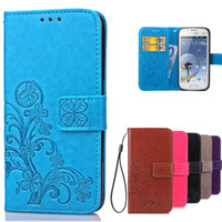 Wholesale Duos S 7562 - Luxury Leather Wallet Flip Cover Case For Samsung Galaxy S Duos GT S7562 GT-S7562 7562 Trend Plus S7580 S7582 GT-S7580 GT-S7582