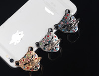 Wholesale Buckle Style Rings - 2017 new style Diamond ring leopard head bracket for mobile phone anti-theft mobile phone support fell 360 degree rotating ring buckle