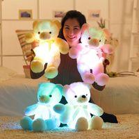 Wholesale Romantic Teddy Bears - Wholesale- 1pcs 50cm Romantic Colorful Flashing LED Night Light Luminous Stuffed Plush Toys Teddy Bear Doll Lovely Gifts for Kids