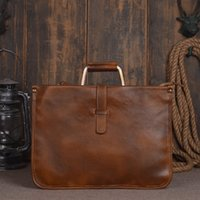 Handmade Mens Genuine Leather Classic Legumes Tanned Leather Briefcase Business Bag Document Bag