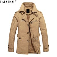 Wholesale Quilted Trench Coat - Wholesale- Trench Coat Men Winter Jacket Men Solid Slim Quilted Jacket Men Trench Fashion Keep Warm Zipper Mens Winter Clothing SMS0018-5