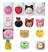 Wholesale cute plush patterns - Wholesale- Portable Girl Cute cartoon character pattern Bag Change Coin Purse Wallet Case Plush Purse Handbag